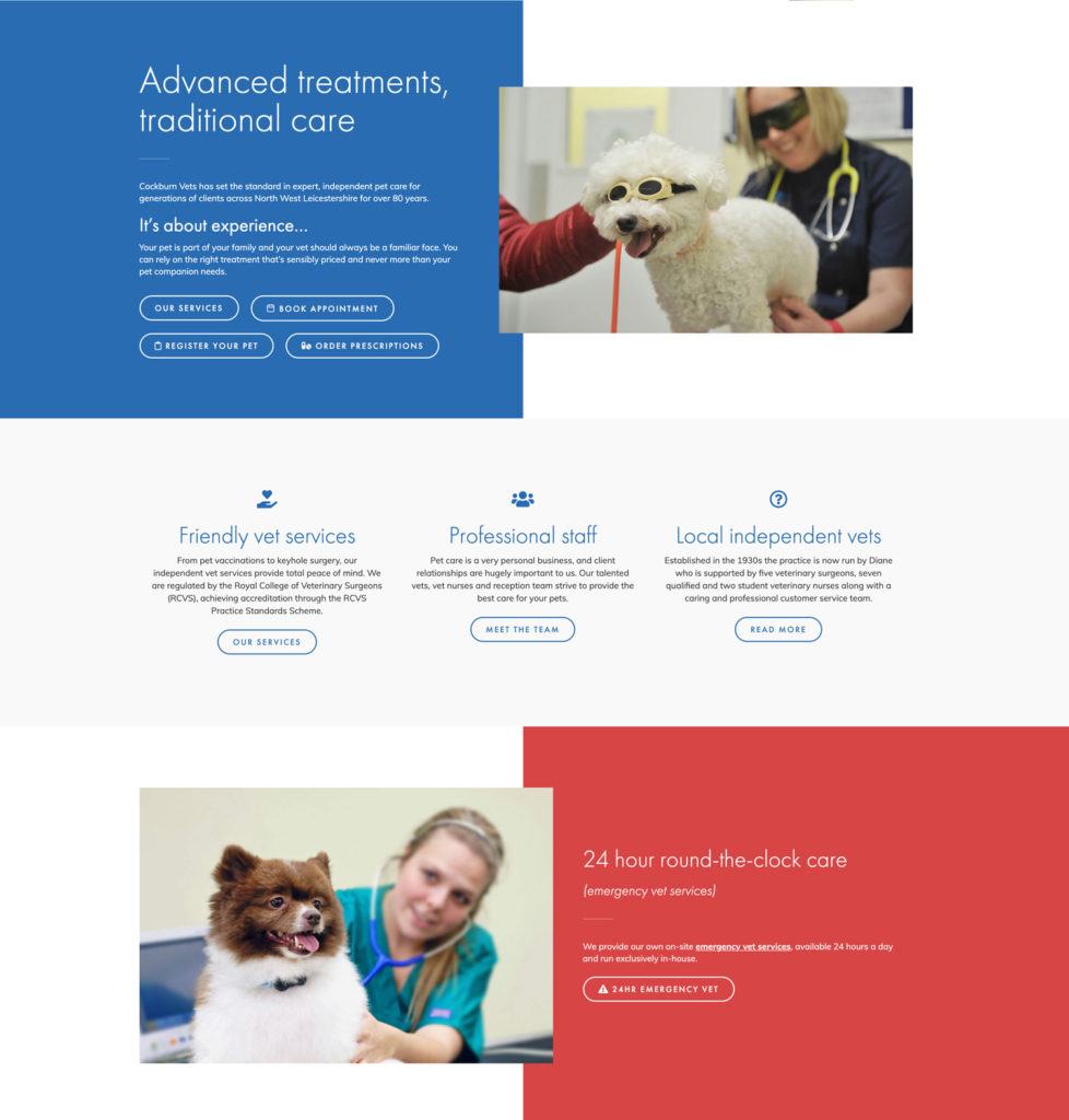 Cockburn Vets Website Design - Example Home Page 2